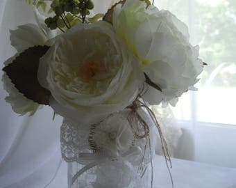 Mason Jar Burlap And Lace Mason Jar Rustic Flowers Party Event Decoration Bridal Shower Wedding  DIY Centerpiece Container Of Your Choice