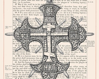 Vintage Cross on 1883 Bible Paper