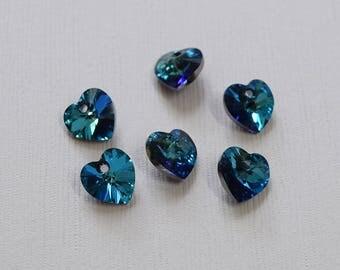 Swarovski Bermuda Blue Xilion Heart Pendants x 6 - 6228 - T1-P3