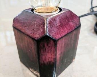 Torched purpleheart minimalist globe lamp