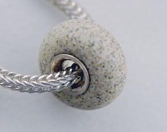 Unique Beach Sand Sea Glass (Matte) Bead -  Artisan Glass Bracelet Bead - (DEC-86)