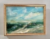 Beach Painting-  Landscape- Painting -Original - Framed Art -8-1/2 x 12  including frame- Ready to Hang