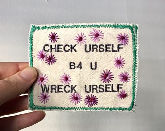 Sound Advice. Handmade Embroidered Canvas Patch. One of a kind