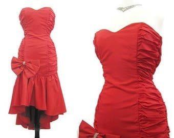 REDUCED Vintage 80s Dress Red Strapless Mermaid Salsa Flamenco Cocktail Formal Dance Prom S M