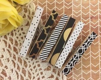 Elegant Black & Gold Magnetic Clothespins Set
