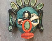 Buddha Head, ceramic mask, wall hanging