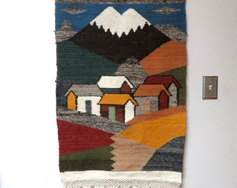 """Folk Art Woven Wall Hanging/ South American Village Scene/ 38"""" x 27"""" Vintage Tapestry Textile"""