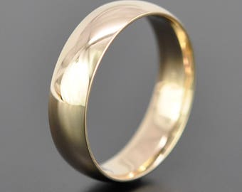 14K Yellow Gold 6mm Classic Mens Wedding Band, Recycled Gold, Comfort Fit