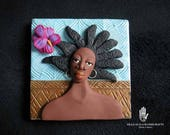 Woman with Hibiscus Decorative Tile