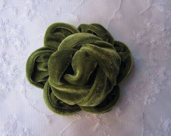 3.5 inch Green Velvet Ribbon Rose Fabric Flower Applique Hat Corsage Pin Baby Pageant Bridal Hair Accessory Applique