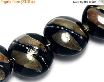 ON SALE 35% OFF Four Elegant Black Metallic Lentil Beads - Handmade Glass Lampwork Beads Set 10204112