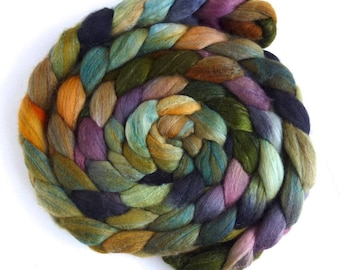 Pre-Order Colorway, Old Stone House, Organic Polwarth or Polwarth/Silk Roving - Handpainted Spinning or Felting Fiber