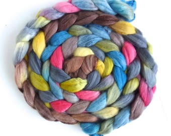 Organic Polwarth/Cultivated Silk Roving - Handpainted Spinning or Felting Fiber, Girlfriends
