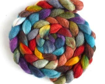 BFL Wool Roving - Hand Painted Spinning or Felting Fiber, Summer Rooftops