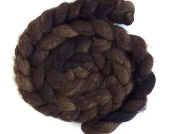Deep Brown, Fawn Shetland Roving - Handpainted Spinning or Felting Fiber