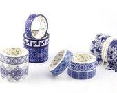 8 Boxes Rich Moroccan Oriental Blue White Floral Flower Retro Tile Scrapbook Decor Washi Paper Masking Sticker Tapes