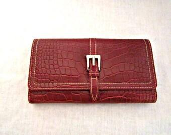 Wallet, Red Wallet,  Red Clutch, Multi-pockets wallet,  Faux Alligator Wallet