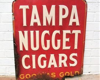 Vintage Metal Sign Vintage Tampa Nugget Cigars Sign Vintage Advertisement