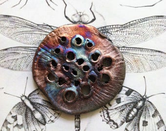 231. Wondrousstrange Raku Abstract Organic Raku Textural Round Tarnished Silver Copper Rust  Seed Pod Lotus Pod Pendant/Cabochon
