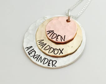 Mom Jewelry - Stacked Love - mixed metal personalized  mothers necklace - Personalized Necklace - Gift for Grandma - Custom name necklace