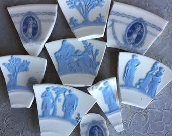 Mosaic Tiles Wedgewood Jasperware Lavendar on Cream Pale Blue Queensware Hand Cut Rare