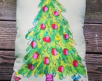 Christmas Tree Hand Painted Pillow Made to Order YelliKelli