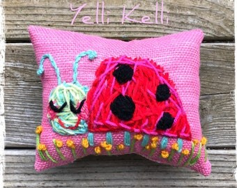 Little Ladybug Hand Embroidered Pillow Ready to Ship YelliKelli