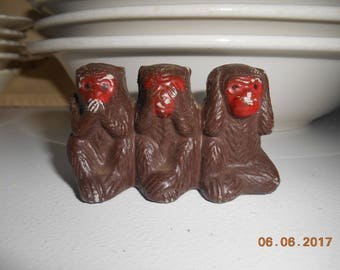 Small figurine of 3 monkeys See no Evil, Speak no Evil, Hear no Evil