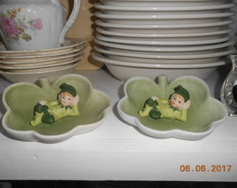 Vintage set of 2 dishes with Elf Pixie in shamrock leaf MSR Imports Inc Made in Taiwan