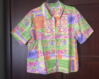 Colorful Vintage Blouse XL Short Sleeve Blouse Coldwater Creek vintage 90s blouse 1X womens casual blouse spring blouse summer blouse 1990s