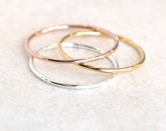 stacking ring band. ONE minimalist stack ring. smooth dainty. gold filled. rose filled. sterling silver. knuckle midi ring. stackable ring.