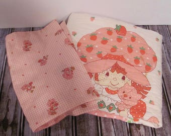 Strawberry Shortcake Baby Quilt and Pillow Case
