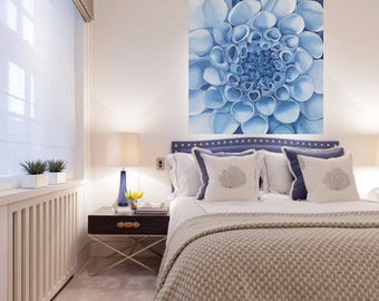 Blue Dahlia Painting - 3D String Art Large Abstract Flower Floral Wall Art