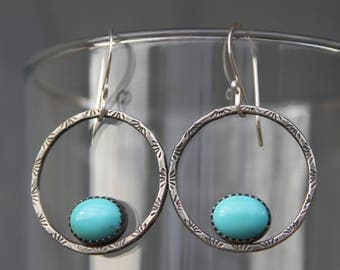 campitos turquoise and stamped sterling silver hoop earrings