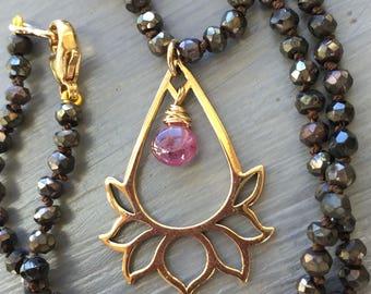 Lotus Pendant Hand Knotted Silk Lotus Necklace Yoga Jewelry Boho Nexklace