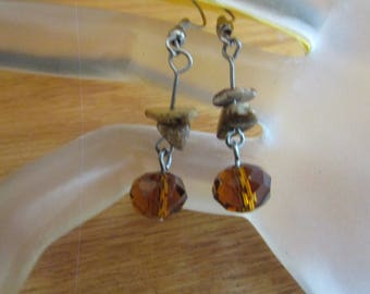 glass rootbeer dangle earring