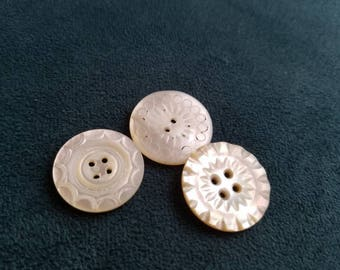 Vintage Buttons - Amazing mother of pearl, 3 medium size size carved  designs Victorian(July 107  17)