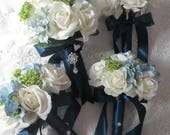 Reserved listing for ...Kristen....Real touch Cream White Roses Green Snowballs and Silk Blue  Hydrangea.