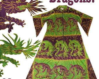 Vintage Pake Muu Dress // Asian DRAGON Novelty Print Hawaiian Green Purple Lounge Robe Caftan Dress OS Tiki Maxi Long Pinup Rockabilly