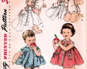 1950s Simplicity 1151 Vintage Sewing Pattern Toddler Sunsuit, Playsuit, Sundress, Jacket Size 1