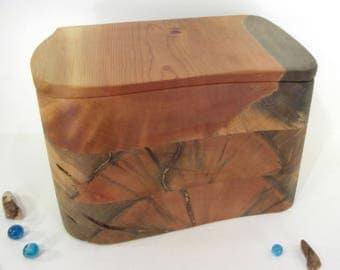 Laminated Blue Pine Box, large cremation urn, pet urn, cremation keepsake, gratitude box, wood art, wooden jewelry box, valet box