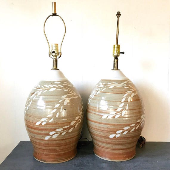 vintage pottery table lamp - large studio stoneware - boho floral - ombre tan cream - LOCAL ONLY Portland Metro pickup or delivery