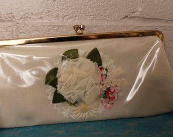 Vintage 1950's Clear Plastic Flower Clutch Purse