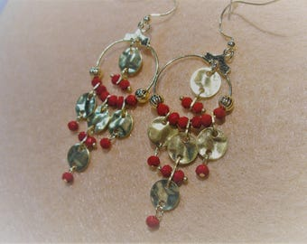 Boho Collection Red Disc Earrings