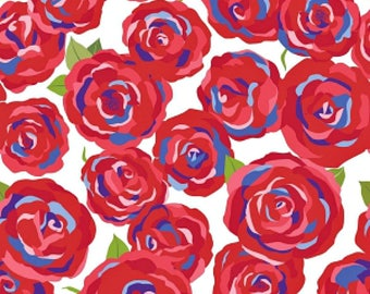Main Red - Coming Up Roses By Jill Finley for Penny Rose Fabrics - Available in Custom lengths C6270-Red