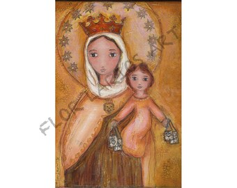 Our Lady of Mount Carmel - Virgen del Carmen - ACEO Giclee print mounted on Wood (2.5 x 3.5 inches) Folk Art  by FLOR LARIOS