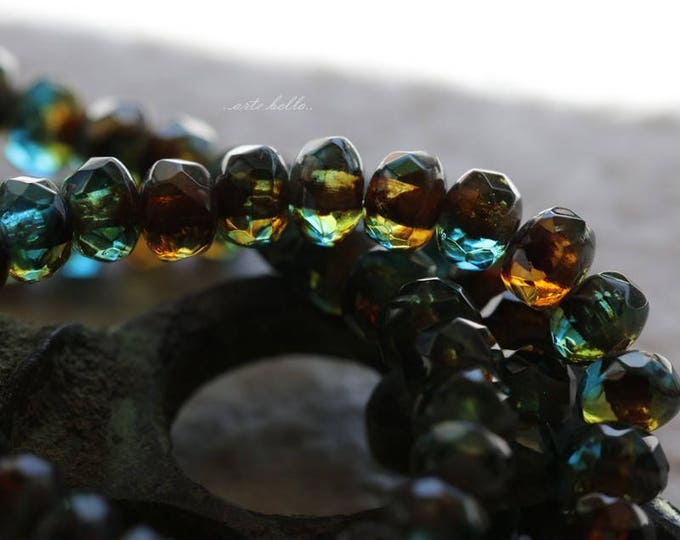 CABO BABIES .. NEW 30 Picasso Glass Czech Rondelle Beads 3x5mm (5814-st)