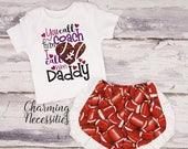 ON SALE Football Coaches Daughter Top and Ruffle Shorts Set, Fan, Baby Girl, Toddler Girl Clothes, You Call Him Coach I Call Him Daddy