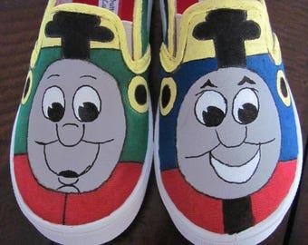 Choo choo train shoes custom made hand painted