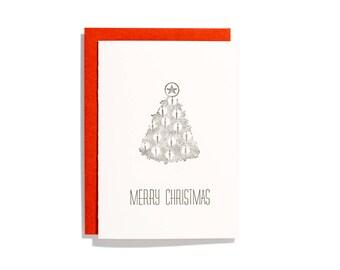 B&W Tree - Letterpressed holiday card - CH080